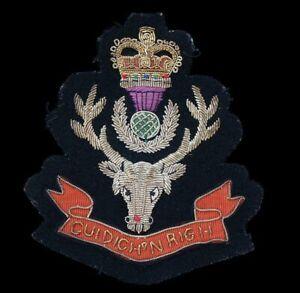 Nice Quality Seaforth Highlanders Embroidered Bullion Blazer Badge