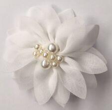 Women's white pearl flower SHOE CLIPS, brand new pair