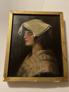 Antique oil painting girl with hat portrait