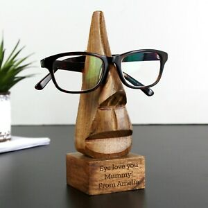 Personalised Message Wooden Nose-Shaped Glasses Holder - Engraved Gift