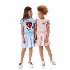NWT NEW Fendi girls blue or pink strawberry cotton logo dress 4 7 10 12 12+/14y