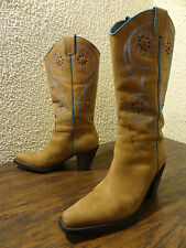 Franco Sarto TULSA Women 6 Brown Turquoise Leather Western Cowboy Cowgirl Boot