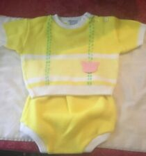 Vintage Glo Knit Japan Baby Boy Girl Yellow Sweater Bottom Set 9 Months