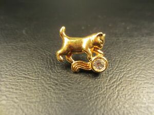 Vintage Cat Feline with Faux Diamond Yellow Gold Plated Tie Tac or Lapel Pin