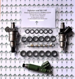 Denso 6 Cylinder 23250 & 195500 Petrol Fuel Injector Filters & Seals - Kit 140