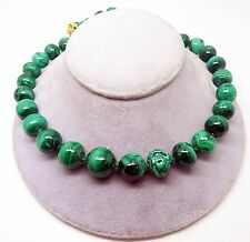 Genuine Natural Malachite Bead Strand Necklace with Yellow Gold Clasp (#3468)