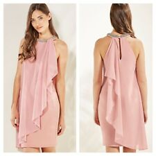 Look Again Size 18 Simply Fab Pink Waterfall Embellished Neck DRESS PARTY £55