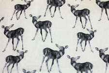 Fabric Baby Deer Animals on Cream Buzoku Duck HALF METRE x 108cm Cotton Material