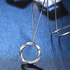 Twist Circle Pendant Necklace Sterling Silver White Gold Plated Elegant Jewelry