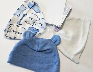 NWT Gerber Organic Cotton Baby Boy Blue Bear Ears BEANIE HATS 3pc SET Newborn