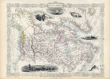 1851 Map British America Canada Vintage Historic Wall Poster Home School Office