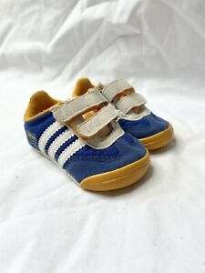Toddler Baby Adidas Dragon Sneakers Size 2 K US Blue Suede Leather Soft Sole