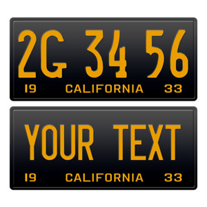 1 x Custom Personalized 1933 California License Plate with YOUR TEXT