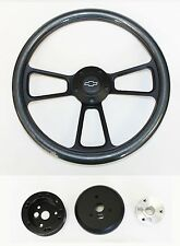 "Blazer C10 C20 C30 S10 Chevy Truck Steering Wheel Carbon Fiber Black 14"" Bowtie"