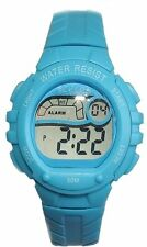 NEW Tikkers Girls Boys Digital Alarm Rubber Sports Watch Xmas Gift For Kids BLUE
