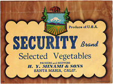 *Original* SECURITY Santa Maria VEGETABLE Minami Crate Label NOT A COPY!