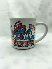 I SMURF America Coffee Mug 1982 Smurf Travel America  by Wallace Berrie & Co.