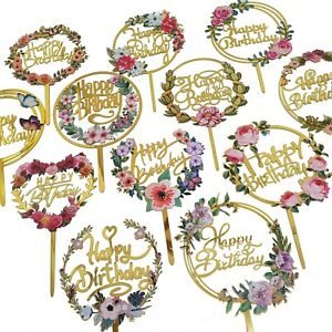 Happy Birthday Colour Printed Cake Topper Acrylic Party Decorations AU STOCK