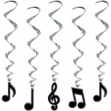 Music Note Whirls Black Silver Swirls Hanging Ceiling Party Decorations 5 Pc