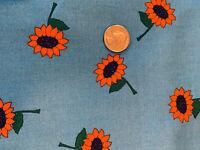 """My Own Backyard..Autumn""  Sunflowers on Blue Cotton Fabric OOP"