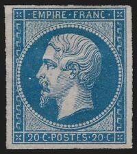 n°14B, Napoléon non-dentelé, 20 bleu, Type II, neuf (*) sans gomme - TB