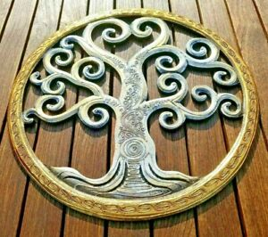 Tree of life wood carving Hand painted wall hanging ornament decoration 40cm