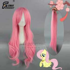 Pink girl long curly middle parting hair cosplay wig design hot wigs
