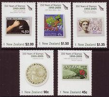 NUEVA ZELANDA 2005 150 AÑOS SELLOS JUEGO DE 5 SIN MONTAR, MNH