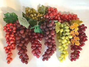 Large Lot of Vintage Rubber Grape Clusters Artificial Decorative Fruit