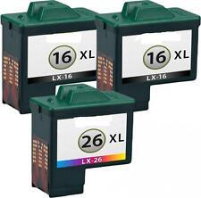 3 Cartuchos tinta para Lexmark 16+26 x1100 x1110 x1130 x1140 x1150x1155x1160x