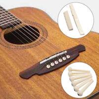 6 Bridge Pins + saddle + bridge saddle Bone / Bone Acoustic Guitar white K1M5