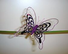Pack x3 Large Size Metallic Clip On Butterfly Christmas Decoration 4in Purple