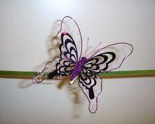 Pack x3 grande dimensione metallico a Clip Farfalla Decorazione Di Natale 4in Viola