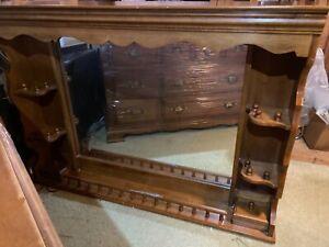 Medium Size Oak Dresser and Mirror