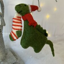 Dinosaur Hanging Decoration Santa Hate Stripey Stocking Christmas Gisela Graham