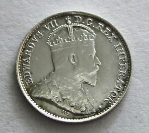 Canada Silver 5 Cents 1908, KM 13  Uncirculated, Uncertified