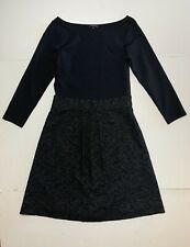 Theory Dress Black Mixed Material Fit Flare Cotton Wool Blend Midi Size 8 EUC
