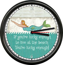 Lucky Enough To Live At The Beach Lake Cabin Swimming Mermaid Sign Wall Clock