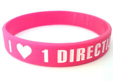 ONE DIRECTION 1D 'I <3 love 1 Direction' pink wristband bracelet *SAME DAY POST