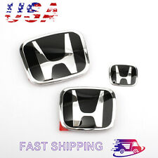 3Pcs Black Chrome H Front Rear Badge Emblem For Honda Accord Sedan