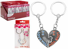 VALENTINES DAY LOVE HEART KEY RING SET OF 2 HALVES ASSORTED