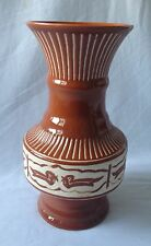LOVELY VINTAGE C1970'S BROWN LARGE POTTERY TABLE VASE