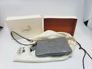 Coach Poppy Gray Leather Wristlet Silver Hardware Never Used Fast Free Ship!!