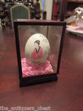 "Chinese handpainted egg, in glass box, 3 1/2"" hx 2 1/2 x 2 1/2, [a*2]"