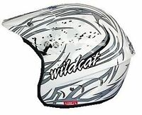WILDCAT TRIALS CRASH HELMET OPEN FACED ECE22-05  QUAD MOTORCROSS  WHITE LARGE