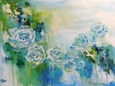 Turquoise Dream 24x18 Original Acrylic Painting Floral Wall Deco Art by Patricia