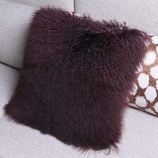 Mongolian Lamb Wool Cushion Cover Brown Curly Fur Pillowcase 16*16inc High-grade