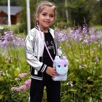 Kids Girls Unicorn Plush Shoulder Bag Crossbody Messenger Purse Handbag Usable