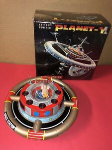 VINTAGE Made In Japan TIN LITHO SPACE Station Planet - Y  With Box Works ! B.O.