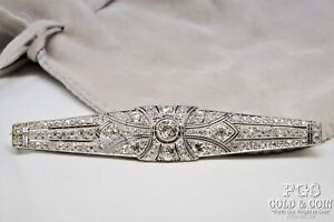 5.53tcw Diamond Art Deco Platinum Brooch .65R 8x.20 SII2 Asst Stones 13.8gr21340